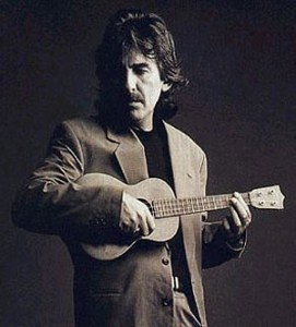 George Harrison and one of his three ukeleles.