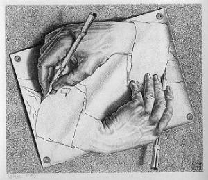 M.C. Esher hands