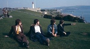 The Beatles relaxing during the filming of Magical Mystery Tour, 1967.