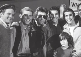 John and Julian Lennon on the set of Happy Days