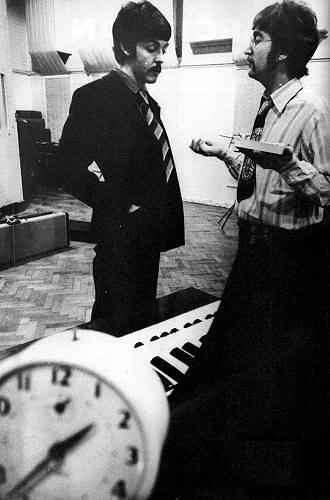 John Lennon and Paul McCartney during the Pepper sessions, 1967