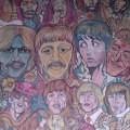 Bealtes mural opposite Bleecker Bob's record store in Greenwich Village, USA.